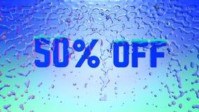 Woord 50 weg Materieel blauw en transparant die ijs door de plons van het kristal zoet water wordt behandeld 3D Illustratie royalty-vrije stock fotografie