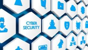 Woordcybersecurity in blauwe en diverse veiligheidspictogrammen Royalty-vrije Stock Afbeeldingen