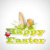 Woorden Gelukkige Pasen met vers gras, oren van konijntje Stock Foto's