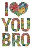 Woorden I HOUDEN van U BRO Vector decoratief zentanglevoorwerp Royalty-vrije Stock Afbeelding