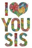 Woorden I HOUDEN van U SIS Vector decoratief zentanglevoorwerp Royalty-vrije Stock Foto