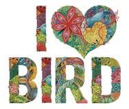 Woorden I LIEFDEvogel Vector decoratief zentanglevoorwerp Stock Afbeelding