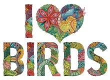 Woorden I LIEFDEvogels Vector decoratief zentanglevoorwerp Stock Foto's