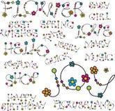 Woorden met bloemornamenten Stock Foto
