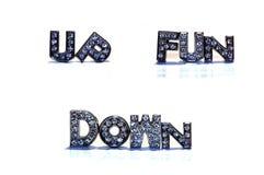Woorden op en neer op witte achtergrond Stock Fotografie