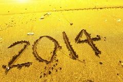 2014 woorden op zand Stock Fotografie