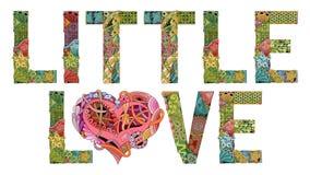 Woorden WEINIG LIEFDE voor het kleuren Vector decoratief zentanglevoorwerp Stock Foto's