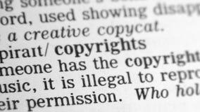 Woordenboekdefinitie - Copyright stock videobeelden
