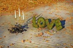 Woordenliefde op de herfstachtergrond Royalty-vrije Stock Foto