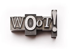 Woot!. The word Woot! done in letterpress type on a white paper background royalty free stock image