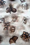 Wooven cloth. Wooven table cloth with autumn pattern Stock Photo