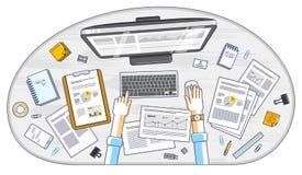 Wor бизнесмена анализа возможностей производства и сбыта, работника офиса или предпринимателя бесплатная иллюстрация