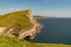 Worbarrow Bay, Jurassic Coast, Dorset, UK. Cliffs at the Jurassic Coast, seen on South West Coast Path between Worbarrow Bay and Brandy Bay, Dorset, UK Stock Photo