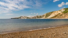 Worbarrow Bay, Jurassic Coast, Dorset, UK. Standing on Worbarrow Bay, near Tyneham, Jurassic Coast, Dorset, UK - looking west Stock Photo