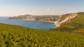Worbarrow Bay, Jurassic Coast, Dorset, UK. Walking on the South West Coast Path, looking at Worbarrow Bay, near Tyneham, Jurassic Coast, Dorset, UK Royalty Free Stock Photo