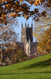 Worcester Cathedral. View of Worcester Cathedral from Fort Royal park, historic scene where Oliver Cromwell won the decisive battle against King Charles II in stock photo