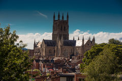 Worcester Cathedral from Fort Royal Park. Fort Royal Park is located south-east of Worcester and is of critical historical significance to the city, as the site Stock Photography