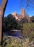 Worcester Cathedral and River Severn. Royalty Free Stock Photography