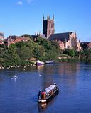 Worcester Cathedral and River Severn. Stock Images