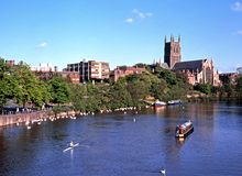 Worcester Cathedral and River Severn. Royalty Free Stock Photos