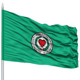 Worcester City Flag on Flagpole, USA. Worcester City Flag on Flagpole, Massachusetts State, Flying in the Wind, Isolated on White Background stock illustration