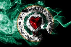 Worcester city smoke flag, Massachusetts State, United States Of America. Worcester city smoke flag, Massachusetts State,. United States Of America royalty free illustration