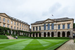 Worcester College in Oxford. Oxford, UK - August 12, 2015: Main courtyard of Worcester College in Oxford. Worcester College is one of the constituent colleges of royalty free stock images
