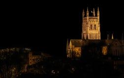 Worcester domkyrka vid natt Arkivbild