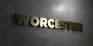 Worcester - Gold text on black background - 3D rendered royalty free stock picture. This image can be used for an online website banner ad or a print postcard stock illustration