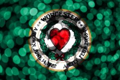 Worcester, Massachusetts abstract blurry bokeh flag. Christmas, New Year and National day concept flag. United States of America.  royalty free illustration