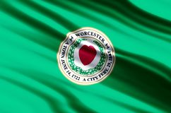 Worcester massachusetts flag illustration. Worcester massachusetts waving and closeup flag illustration. Usable for background and texture vector illustration