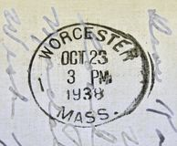 Worcester Massachusetts Postmark. A 1938 postcard cancellation from Worcester Massachusetts. This image could illustrate travel, tourism, philately or stock photos