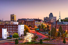 Worcester, Massachusetts Skyline. Worcester, Massachusetts, USA Skyline at dusk Royalty Free Stock Image