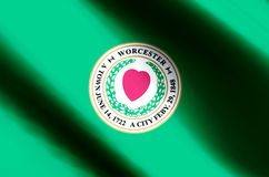 Worcester massachusetts colorful waving and closeup flag illustration. Perfect for texture and background vector illustration