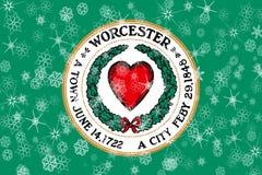 Worcester, Massachusetts winter snowflakes flag background. United States of America. Winter motive vector illustration