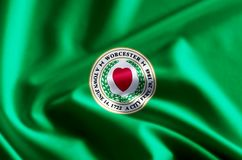 Worcester massachusetts flag illustration. Worcester massachusetts waving and closeup flag illustration. Perfect for background or texture purposes vector illustration
