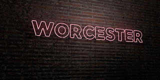 WORCESTER -Realistic Neon Sign on Brick Wall background - 3D rendered royalty free stock image. Can be used for online banner ads and direct mailers vector illustration