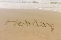 Word écrit dans la plage Image libre de droits