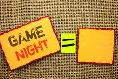 Word, écriture, nuit de jeu des textes Événement conceptuel de temps de jeu d'amusement de divertissement de photo pour le jeu éc Images stock