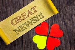 Word, écriture, textotent de grandes actualités Célébration conceptuelle de l'information de journal de succès de photo écrite su Images libres de droits