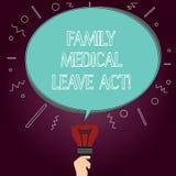 Word écrivant à famille des textes l'acte médical de congé Le concept d'affaires pour le droit du travail de FMLA couvrant des em illustration de vecteur