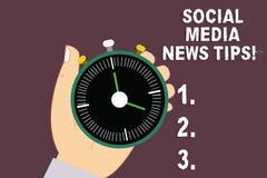 Word écrivant à texte les astuces sociales de nouvelles de médias Concept d'affaires pour manières de communications en ligne d'I illustration de vecteur
