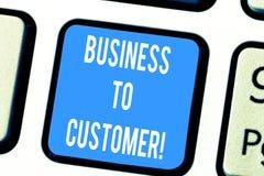 Word écrivant des affaires des textes au client Concept d'affaires pour des transactions Direct entre une société et les consomma photo stock
