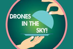 Word écrivant des bourdons des textes dans le ciel Concept d'affaires pour le dispositif moderne d'hélicoptère aérien prenant les illustration libre de droits