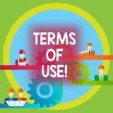 Word écrivant des conditions d'utilisation des textes Concept d'affaires pour des conditions établies pour l'usage de quelque cho illustration stock