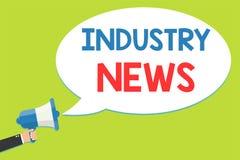 Word écrivant des nouvelles d'industrie des textes Concept d'affaires pour la participation commerciale technique de Man de const illustration libre de droits
