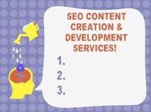 Word écrivant des services de Seo Content Creation And Development des textes Concept d'affaires pour l'eau d'optimisation de mot illustration de vecteur