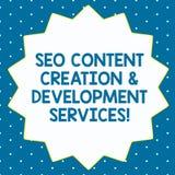 Word écrivant des services de Seo Content Creation And Development des textes Concept d'affaires pour l'optimisation de moteur de illustration libre de droits