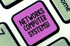 Word écrivant des systèmes informatiques de réseaux des textes Le concept d'affaires pour des dispositifs lient ensemble pour fac images stock