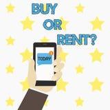 Word écrivant l'achat ou le loyer des textes Concept d'affaires pour le doute entre posséder quelque chose pour l'obtenir pour l' illustration libre de droits